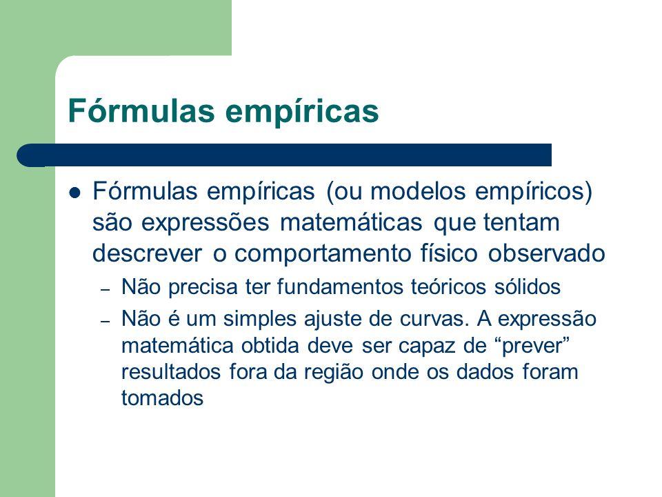 Fórmulas empíricas Fórmulas empíricas (ou modelos empíricos) são expressões matemáticas que tentam descrever o comportamento físico observado – Não precisa ter fundamentos teóricos sólidos – Não é um simples ajuste de curvas.