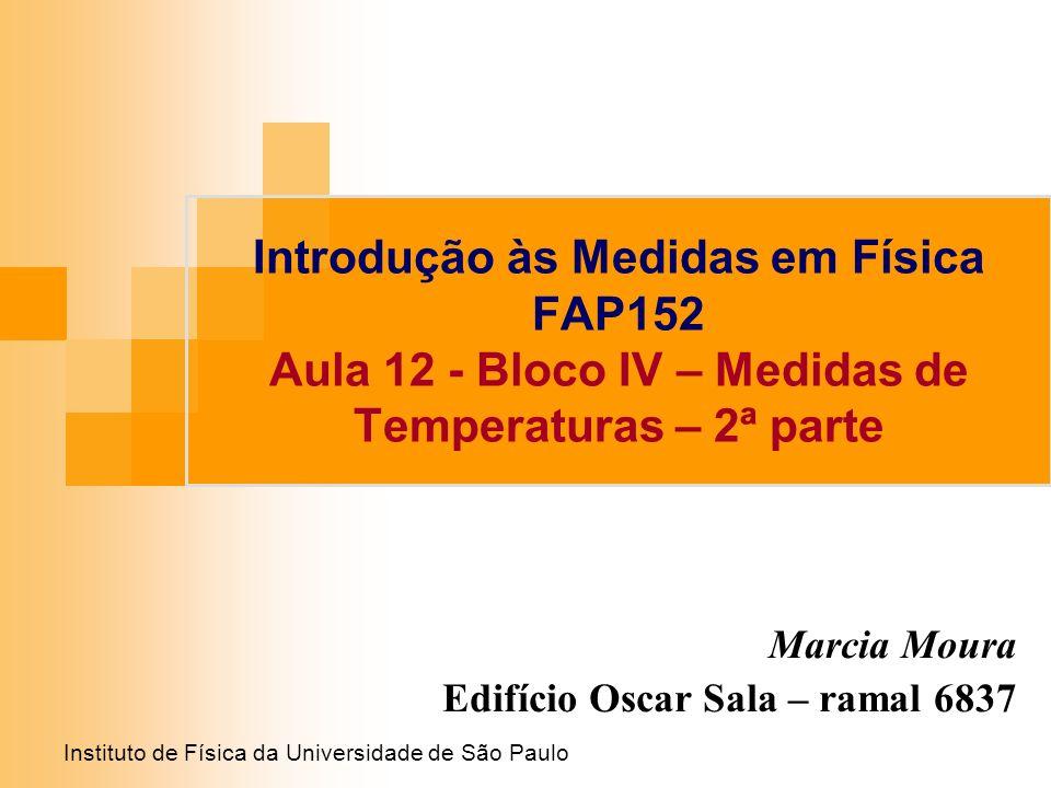 Instituto de Física da Universidade de São Paulo Introdução às Medidas em Física FAP152 Aula 12 - Bloco IV – Medidas de Temperaturas – 2ª parte Marcia