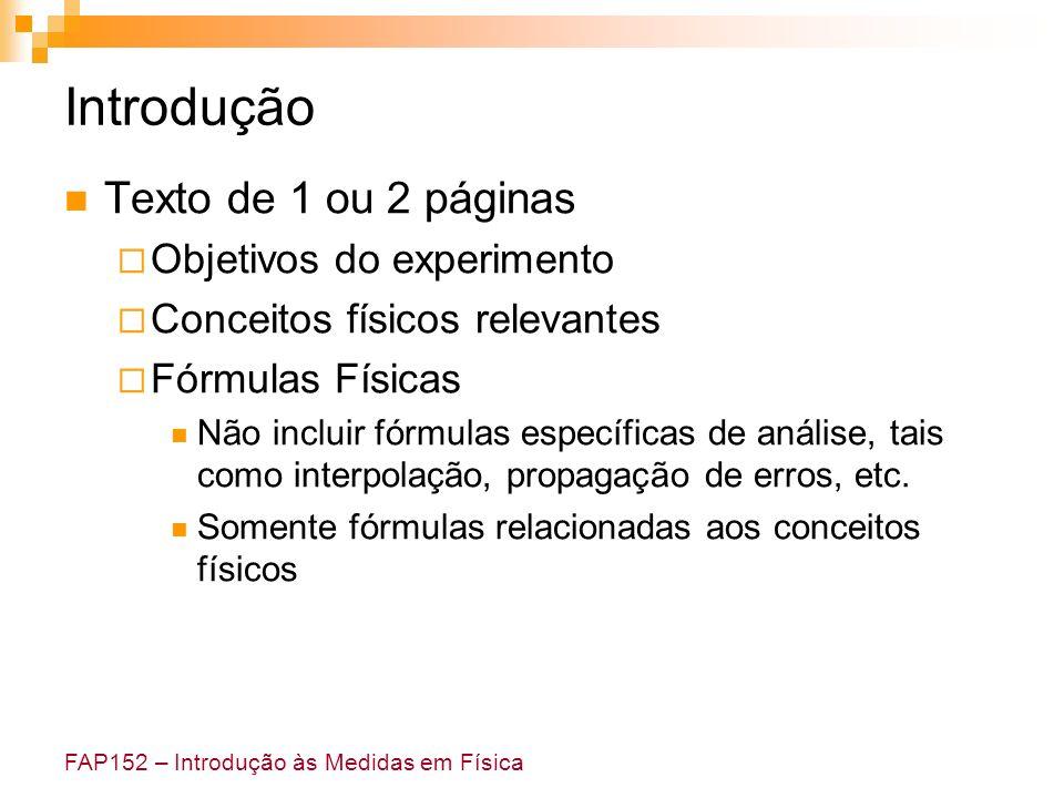 FAP152 – Introdução às Medidas em Física Introdução Texto de 1 ou 2 páginas Objetivos do experimento Conceitos físicos relevantes Fórmulas Físicas Não