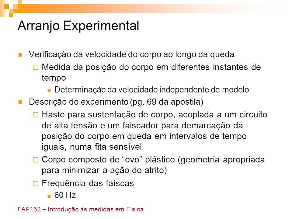 FAP152 – Introdução às medidas em Física Arranjo Experimental Verificação da velocidade do corpo ao longo da queda Medida da posição do corpo em difer