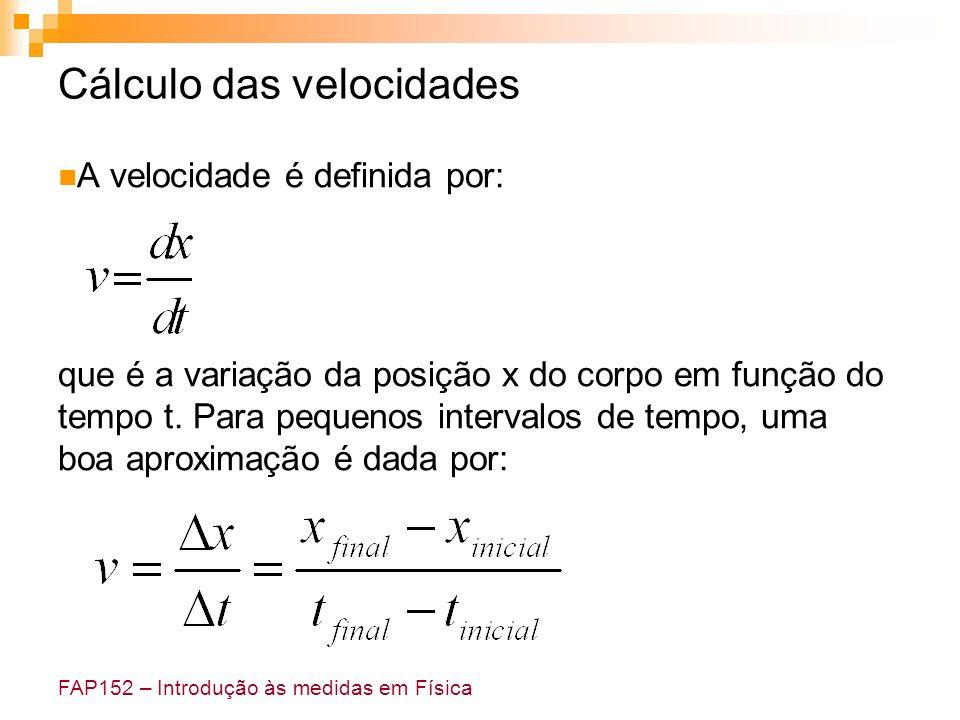 FAP152 – Introdução às medidas em Física Cálculo das velocidades A velocidade é definida por: que é a variação da posição x do corpo em função do temp