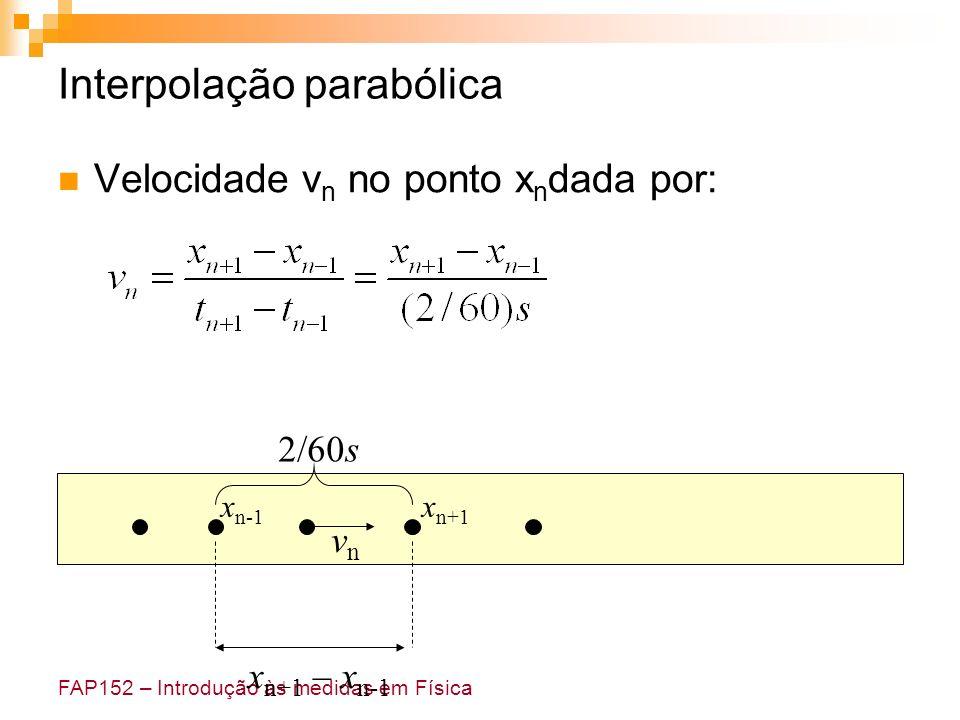FAP152 – Introdução às medidas em Física Interpolação parabólica Velocidade v n no ponto x n dada por: vnvn x n+1 – x n-1 2/60s x n+1 x n-1