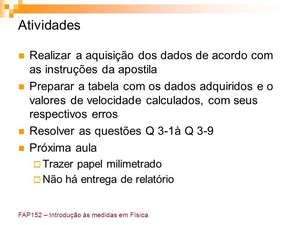 FAP152 – Introdução às medidas em Física Atividades Realizar a aquisição dos dados de acordo com as instruções da apostila Preparar a tabela com os da