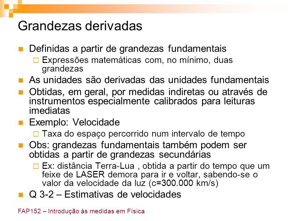 FAP152 – Introdução às medidas em Física Grandezas derivadas Definidas a partir de grandezas fundamentais Expressões matemáticas com, no mínimo, duas