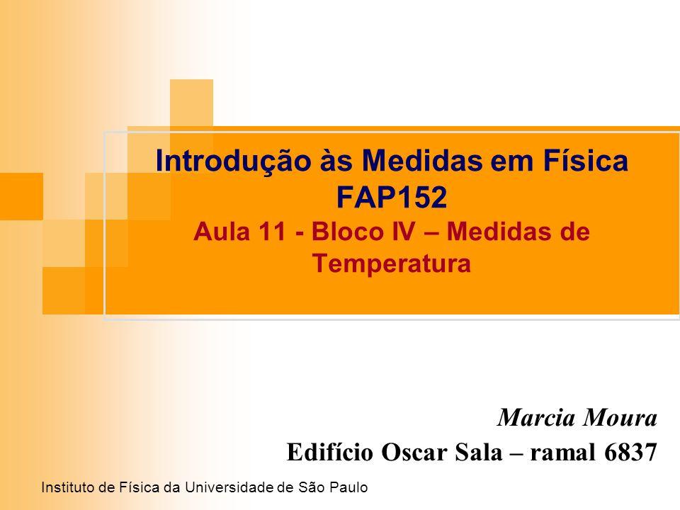 Instituto de Física da Universidade de São Paulo Introdução às Medidas em Física FAP152 Aula 11 - Bloco IV – Medidas de Temperatura Marcia Moura Edifí