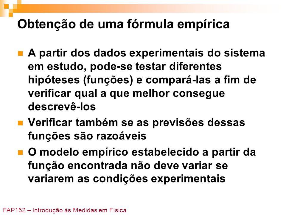 FAP152 – Introdução às Medidas em Física Obtenção de uma fórmula empírica A partir dos dados experimentais do sistema em estudo, pode-se testar difere