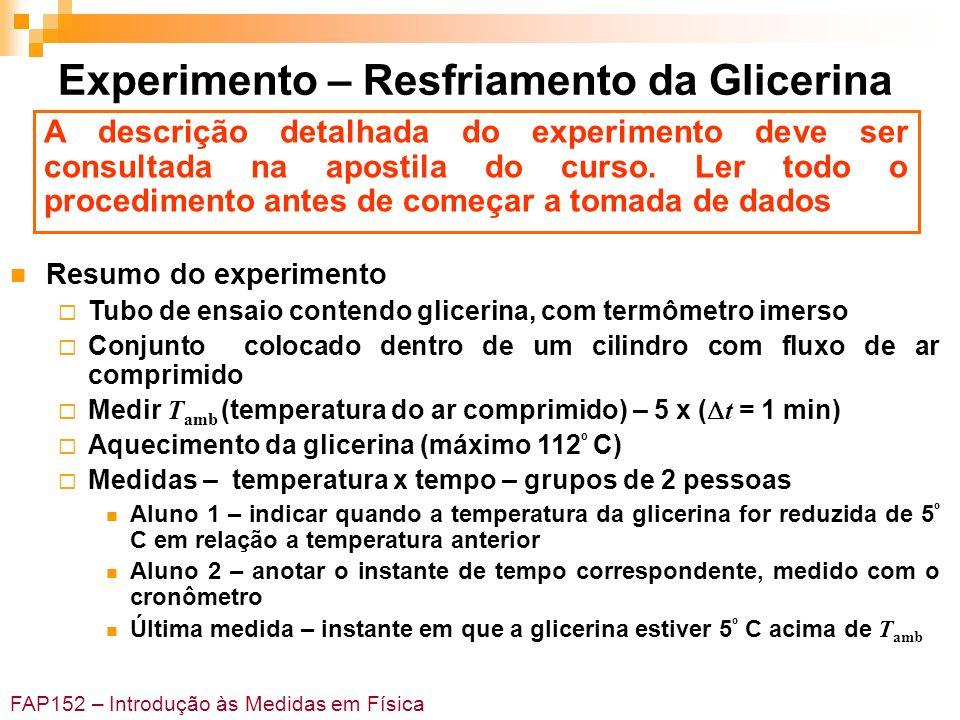 FAP152 – Introdução às Medidas em Física Experimento – Resfriamento da Glicerina Resumo do experimento Tubo de ensaio contendo glicerina, com termômet