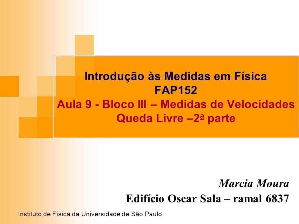 Instituto de Física da Universidade de São Paulo Introdução às Medidas em Física FAP152 Aula 9 - Bloco III – Medidas de Velocidades Queda Livre –2 a p