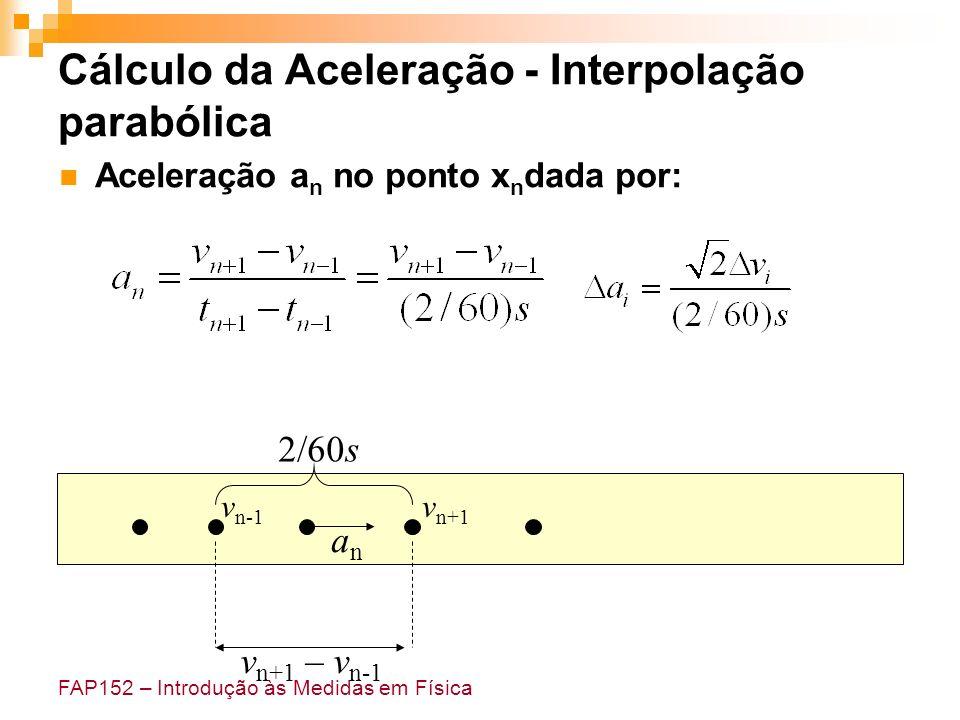 FAP152 – Introdução às Medidas em Física Cálculo da Aceleração - Interpolação parabólica Aceleração a n no ponto x n dada por: anan v n+1 – v n-1 2/60