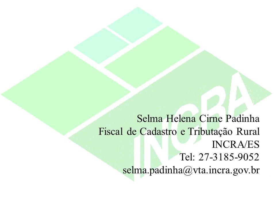 Selma Helena Cirne Padinha Fiscal de Cadastro e Tributação Rural INCRA/ES Tel: 27-3185-9052 selma.padinha@vta.incra.gov.br