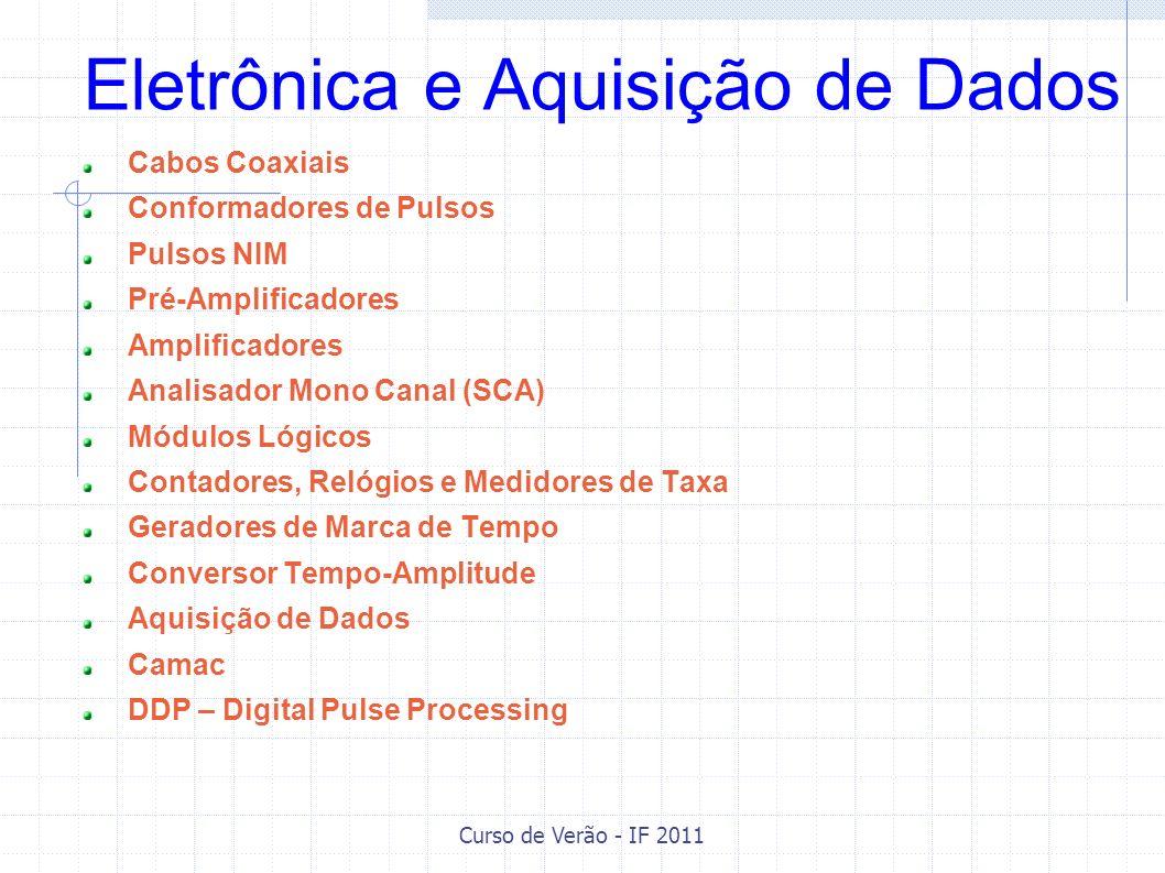 Curso de Verão - IF 2011 Cabos Coaxiais Cabos coaxiais são caracterizados pela impedância característica e pela velocidade de propagação (tipo de dielétrico).