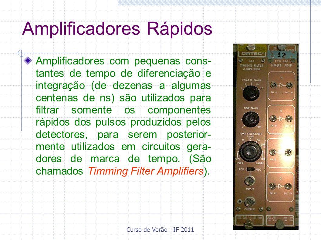 Amplificadores Rápidos Amplificadores com pequenas cons- tantes de tempo de diferenciação e integração (de dezenas a algumas centenas de ns) são utili