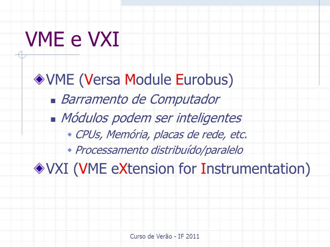 Curso de Verão - IF 2011 VME e VXI VME (Versa Module Eurobus) Barramento de Computador Módulos podem ser inteligentes CPUs, Memória, placas de rede, e