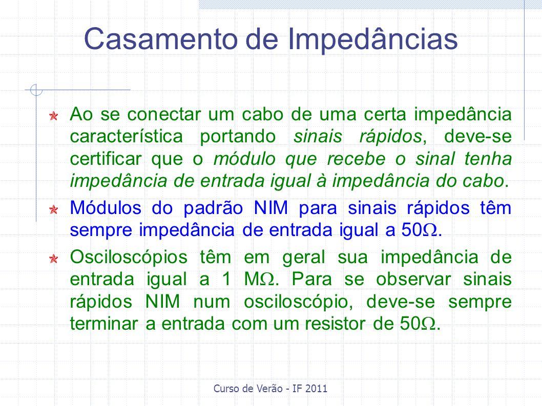Curso de Verão - IF 2011 Cabos utilizados em sinais (baixa tensão, até 1 kV) empregam conectores BNC ou Lemo.