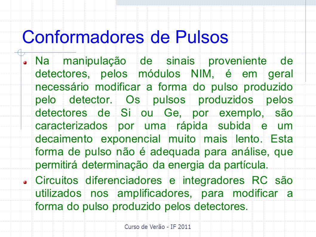 Curso de Verão - IF 2011 Conformadores de Pulsos Na manipulação de sinais proveniente de detectores, pelos módulos NIM, é em geral necessário modifica