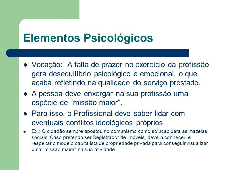 Elementos Psicológicos(cont.) Aptidão: É a técnica para exercício das atividades que compõem a profissão.