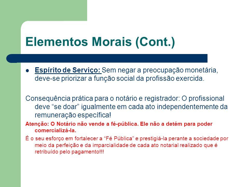 Elementos morais (Cont.) Comportamento ético vai depender também da crença na utilidade do serviço.