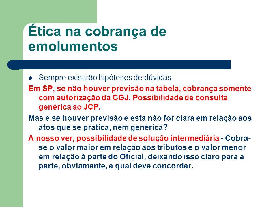 Ética na cobrança de emolumentos (cont.) Gratuidades 1) A GRATUIDADE DEVE SER ESTENDIDA A TODOS OS ATOS ACESSÓRIOS AO PRINCIPAL.