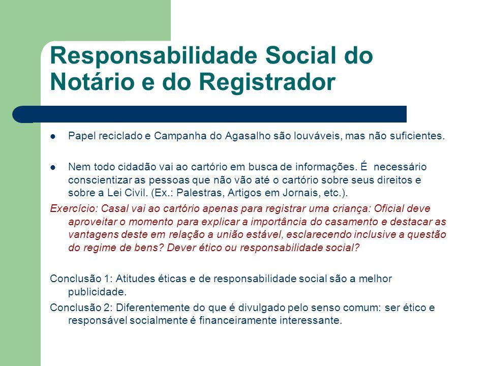 Responsabilidade Social do Notário e do Registrador (cont.) A responsabilidade social não passa apenas pela questão ambiental e de ajuda monetária aos pobres e necessitados.