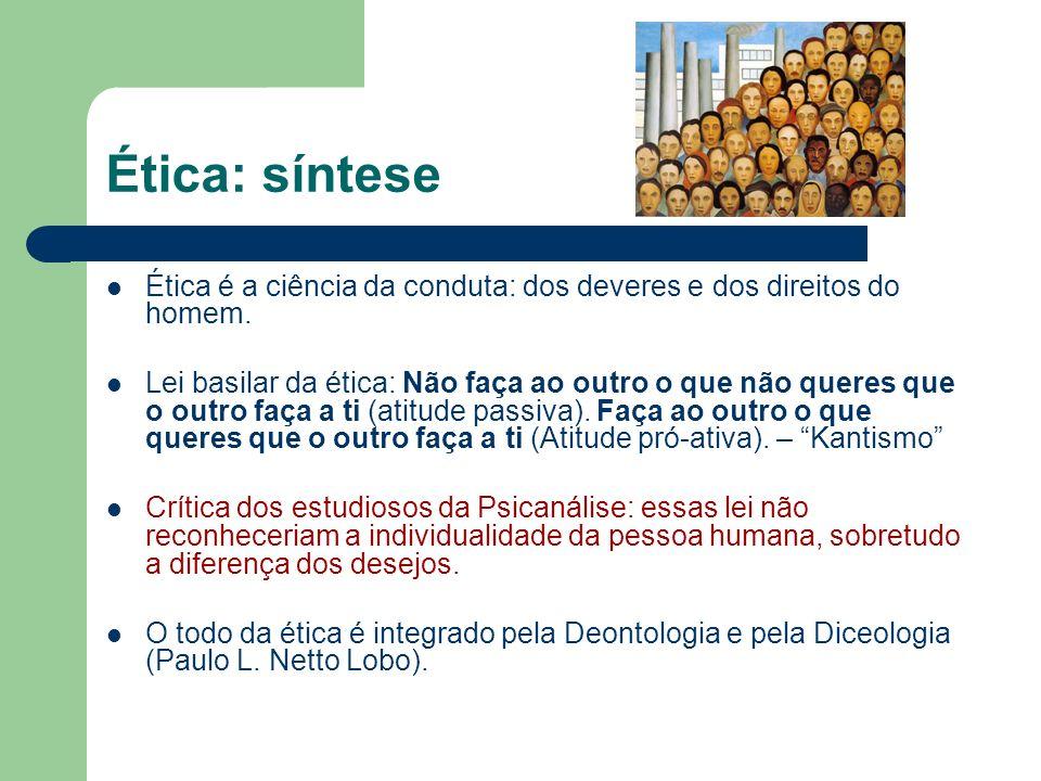 Deontologia: conceito DEONTOLOGIA: Ramo da ética que trata dos deveres; DICEOLOGIA: Ramo da ética que cuida dos direitos.