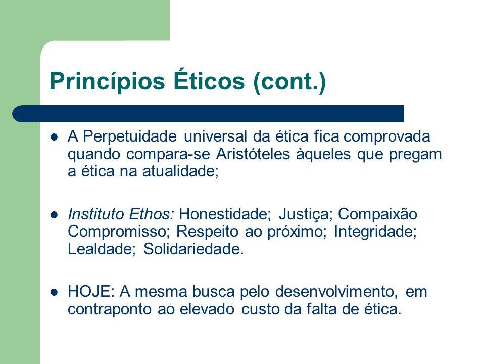 A falta de Ética e suas conseqüências Custos de oportunidade: Tempo e valores gastos com medidas preventivas – pouca evolução.(ex.