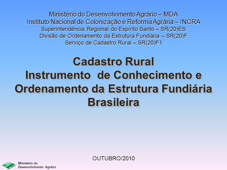 Ministério do Desenvolvimento Agrário Emissão via internet do CCIR 2006-2009 Área média do total de imóveis rurais cadastrados no SNCR e daqueles que tiveram o CCIR 2006-2009 emitido