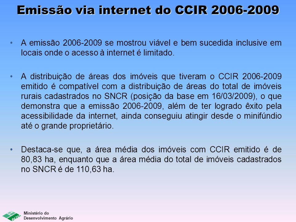Ministério do Desenvolvimento Agrário Emissão via internet do CCIR 2006-2009 A emissão 2006-2009 se mostrou viável e bem sucedida inclusive em locais