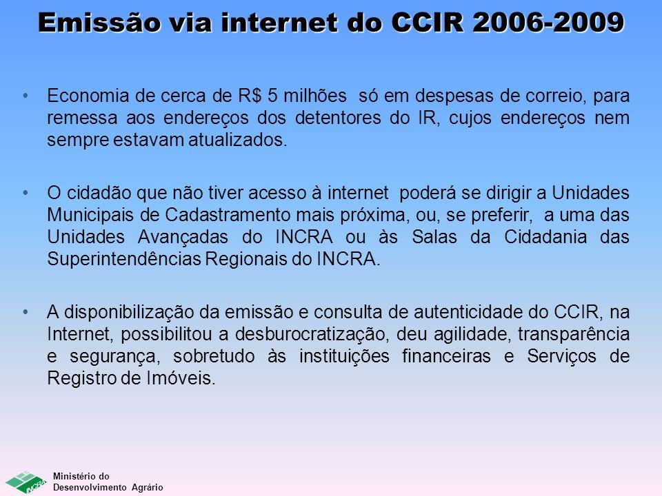 Ministério do Desenvolvimento Agrário Emissão via internet do CCIR 2006-2009 Economia de cerca de R$ 5 milhões só em despesas de correio, para remessa