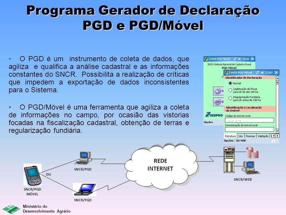 Ministério do Desenvolvimento Agrário REDE INTERNET SNCR/WEB SNCR/PGD MÓVEL SNCR/PGD OU Programa Gerador de Declaração PGD e PGD/Móvel O PGD é um inst