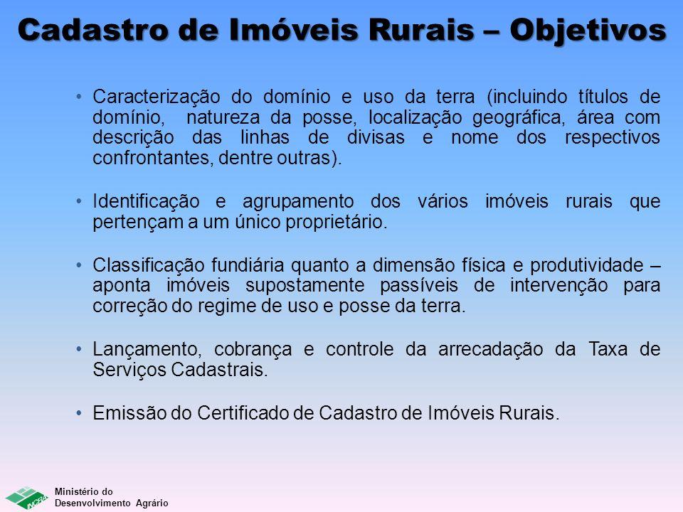 Ministério do Desenvolvimento Agrário Cadastro de Imóveis Rurais – Objetivos Caracterização do domínio e uso da terra (incluindo títulos de domínio, n