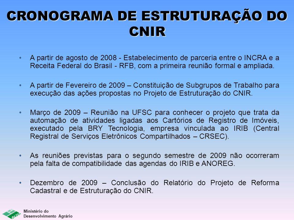 Ministério do Desenvolvimento Agrário CRONOGRAMA DE ESTRUTURAÇÃO DO CNIR A partir de agosto de 2008 - Estabelecimento de parceria entre o INCRA e a Re