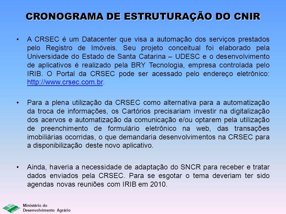 Ministério do Desenvolvimento Agrário CRONOGRAMA DE ESTRUTURAÇÃO DO CNIR A CRSEC é um Datacenter que visa a automação dos serviços prestados pelo Regi