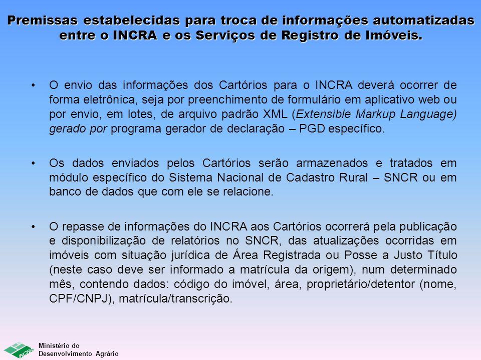 Ministério do Desenvolvimento Agrário Premissas estabelecidas para troca de informações automatizadas entre o INCRA e os Serviços de Registro de Imóve