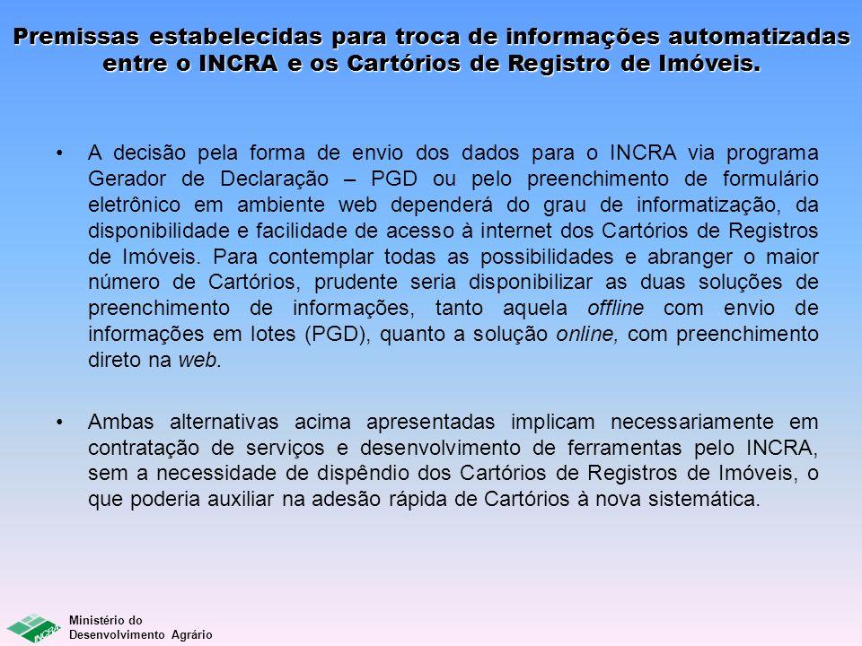 Premissas estabelecidas para troca de informações automatizadas entre o INCRA e os Cartórios de Registro de Imóveis. A decisão pela forma de envio dos