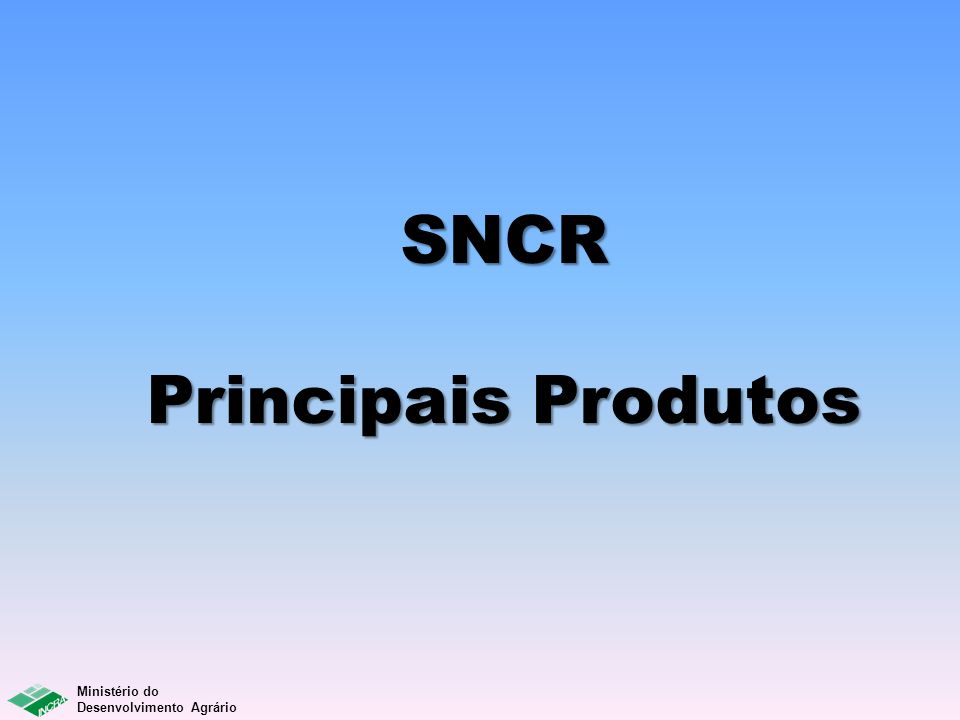 Ministério do Desenvolvimento Agrário SNCR Principais Produtos