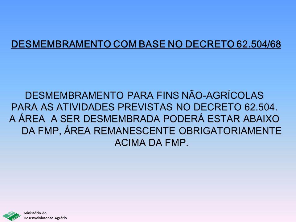 Ministério do Desenvolvimento Agrário DESMEMBRAMENTO COM BASE NO DECRETO 62.504/68 DESMEMBRAMENTO PARA FINS NÃO-AGRÍCOLAS PARA AS ATIVIDADES PREVISTAS