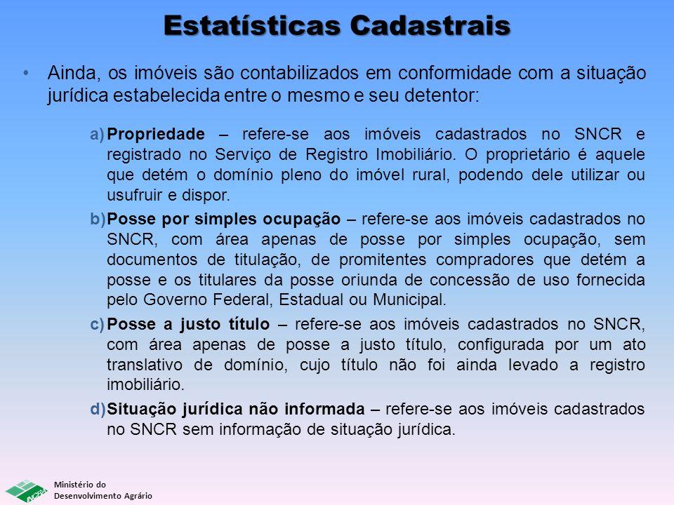 Ministério do Desenvolvimento Agrário Estatísticas Cadastrais Ainda, os imóveis são contabilizados em conformidade com a situação jurídica estabelecid