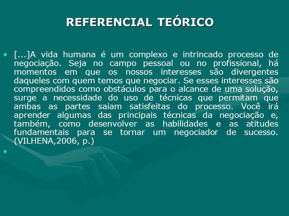 REFERENCIAL TEÓRICO [...]A vida humana é um complexo e intrincado processo de negociação. Seja no campo pessoal ou no profissional, há momentos em que