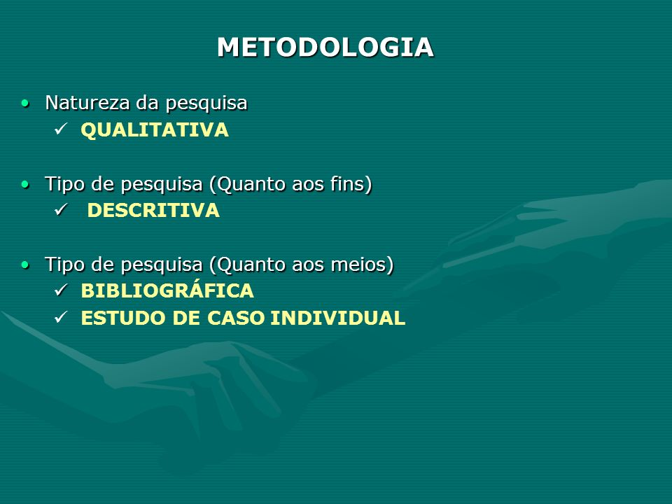 METODOLOGIA Natureza da pesquisaNatureza da pesquisa QUALITATIVA Tipo de pesquisa (Quanto aos fins)Tipo de pesquisa (Quanto aos fins) DESCRITIVA Tipo