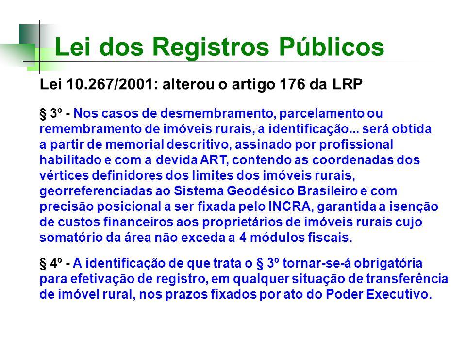 Lei dos Registros Públicos Lei 10.267/2001: alterou o artigo 176 da LRP § 3º - Nos casos de desmembramento, parcelamento ou remembramento de imóveis r