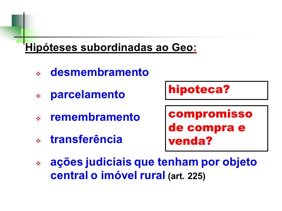 Hipóteses subordinadas ao Geo: desmembramento parcelamento remembramento transferência ações judiciais que tenham por objeto central o imóvel rural (a