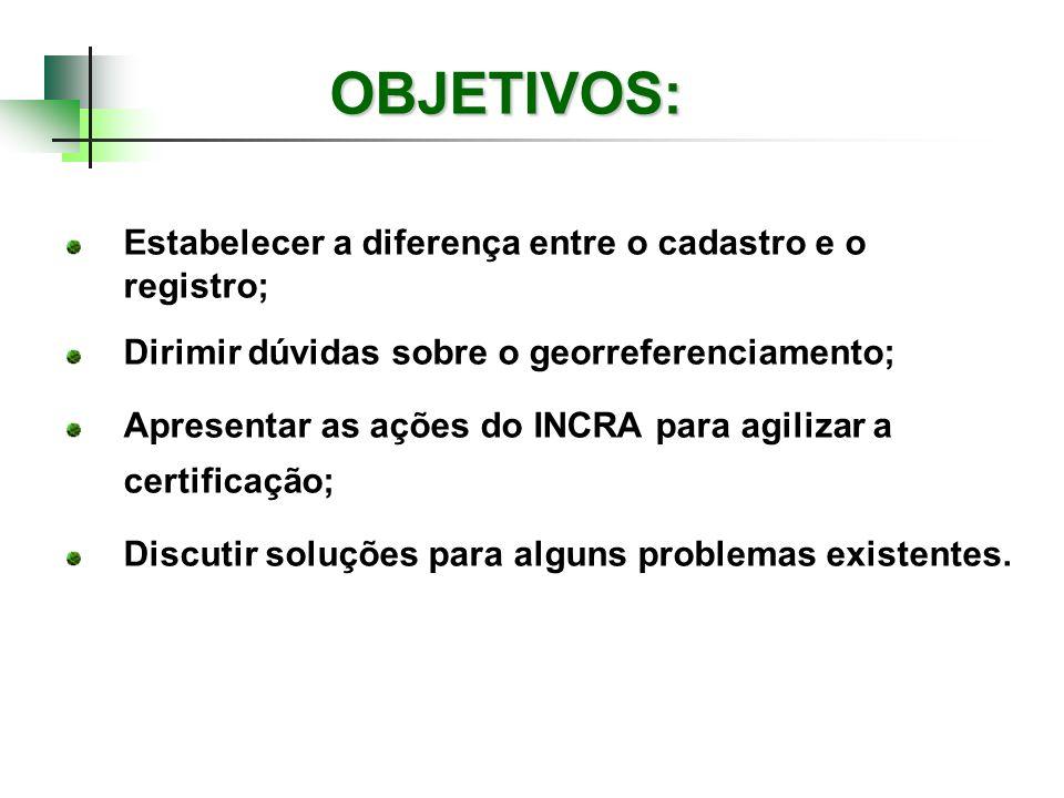 OBJETIVOS: Estabelecer a diferença entre o cadastro e o registro; Dirimir dúvidas sobre o georreferenciamento; Apresentar as ações do INCRA para agili