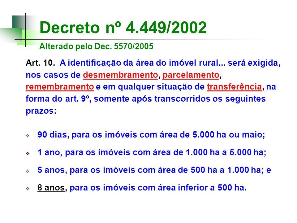 Decreto nº 4.449/2002 Alterado pelo Dec. 5570/2005 Art. 10. A identificação da área do imóvel rural... será exigida, nos casos de desmembramento, parc