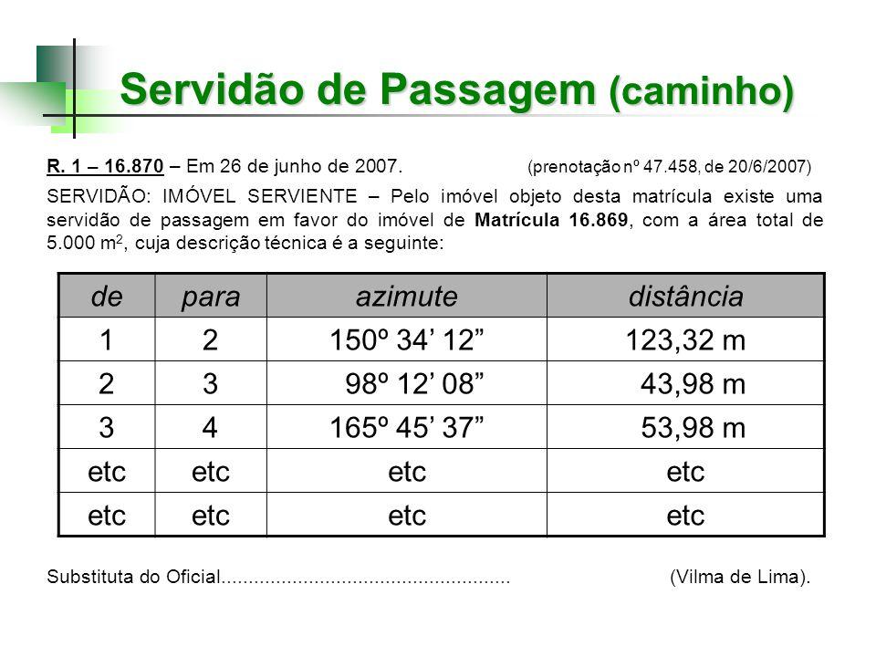 Servidão de Passagem (caminho) R. 1 – 16.870 – Em 26 de junho de 2007. (prenotação nº 47.458, de 20/6/2007) SERVIDÃO: IMÓVEL SERVIENTE – Pelo imóvel o