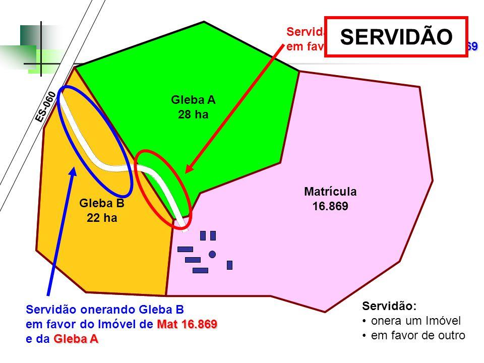 Gleba A 28 ha Gleba B 22 ha Servidão onerando Gleba A Mat 16.869 em favor do Imóvel de Mat 16.869 ES-060 Servidão onerando Gleba B Mat 16.869 em favor