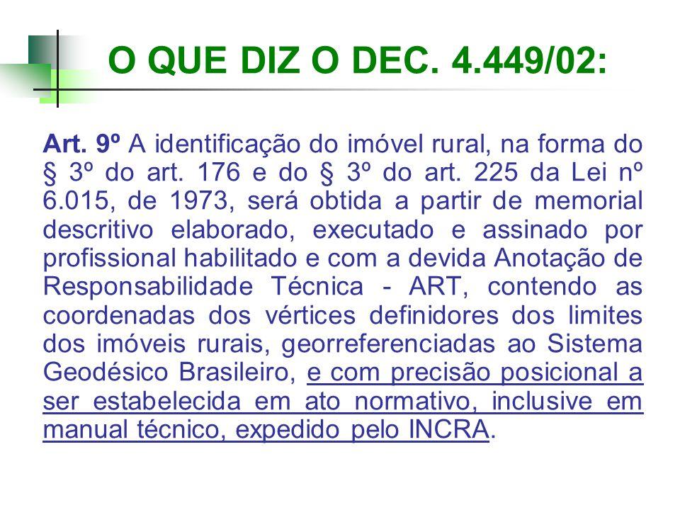 O QUE DIZ O DEC. 4.449/02: Art. 9º A identificação do imóvel rural, na forma do § 3º do art. 176 e do § 3º do art. 225 da Lei nº 6.015, de 1973, será