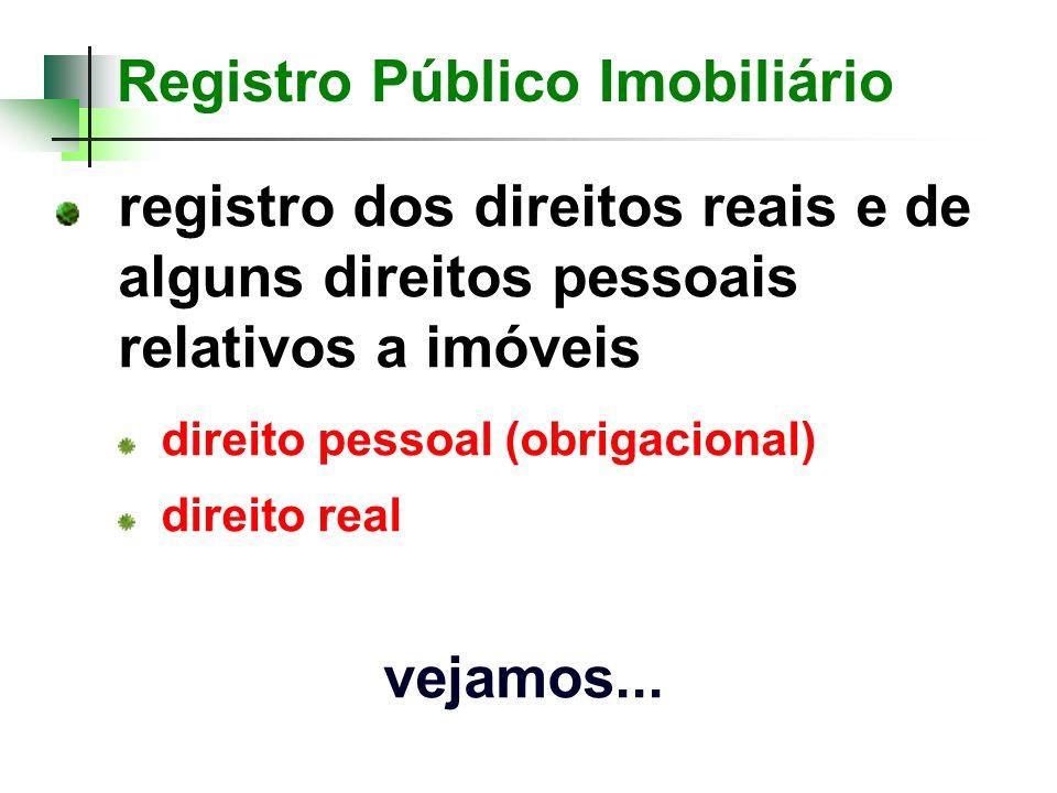 registro dos direitos reais e de alguns direitos pessoais relativos a imóveis direito pessoal (obrigacional) direito real vejamos...