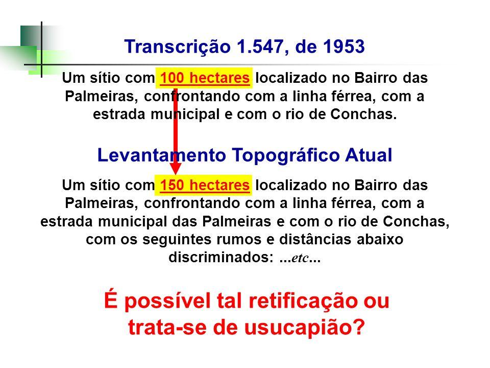 Transcrição 1.547, de 1953 Um sítio com 100 hectares localizado no Bairro das Palmeiras, confrontando com a linha férrea, com a estrada municipal e co
