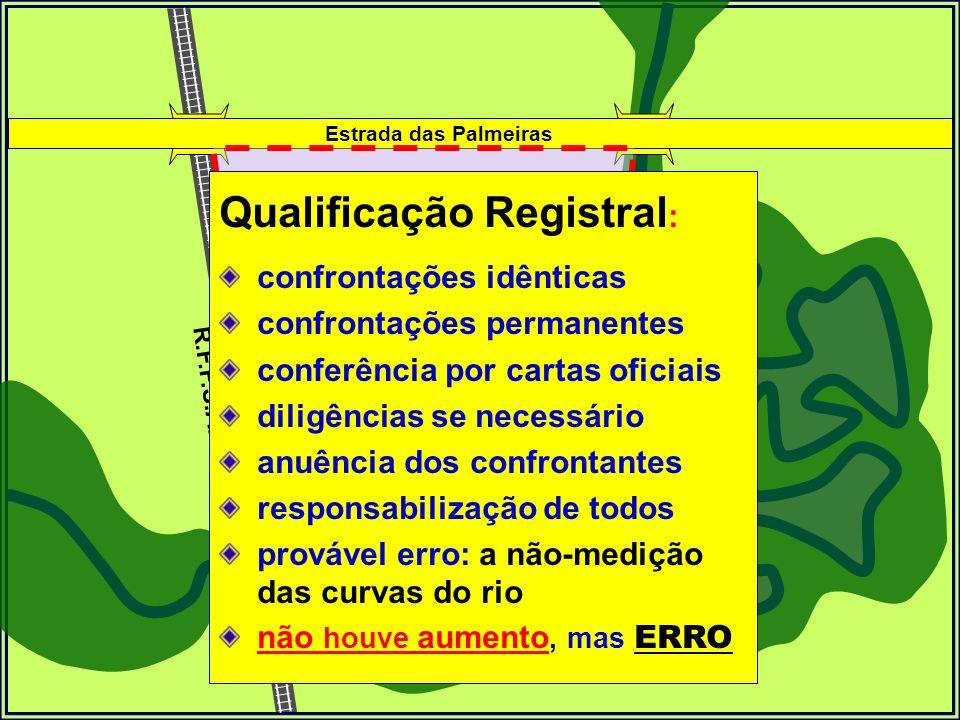 R.F.F.S.A. Sítio Mina DÁgua 150 hectares Estrada das Palmeiras rio de Conchas medição visual 100 hectares Qualificação Registral : confrontações idênt