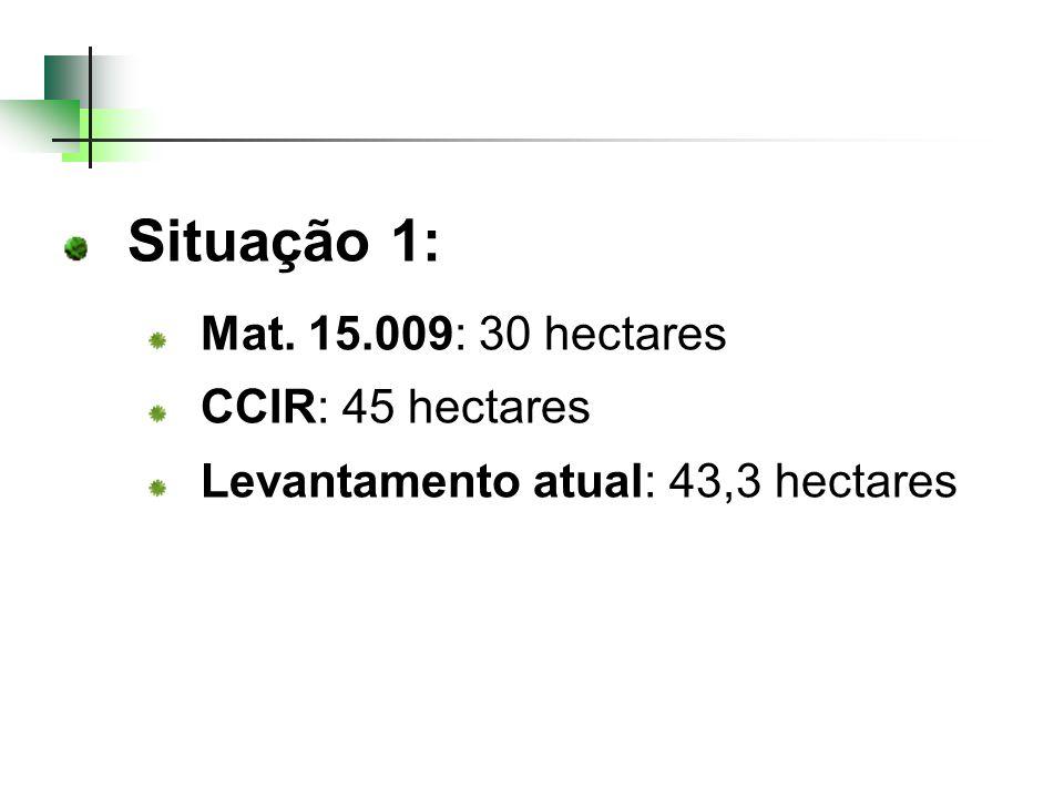 Situação 1: Mat. 15.009: 30 hectares CCIR: 45 hectares Levantamento atual: 43,3 hectares